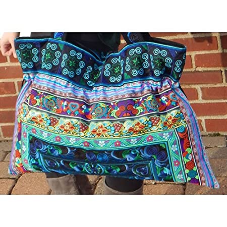Large Hand-Made Embroidered Drawstring Tote Bag for Knitting or Travel by Plymouth Yarn Company - AQUA