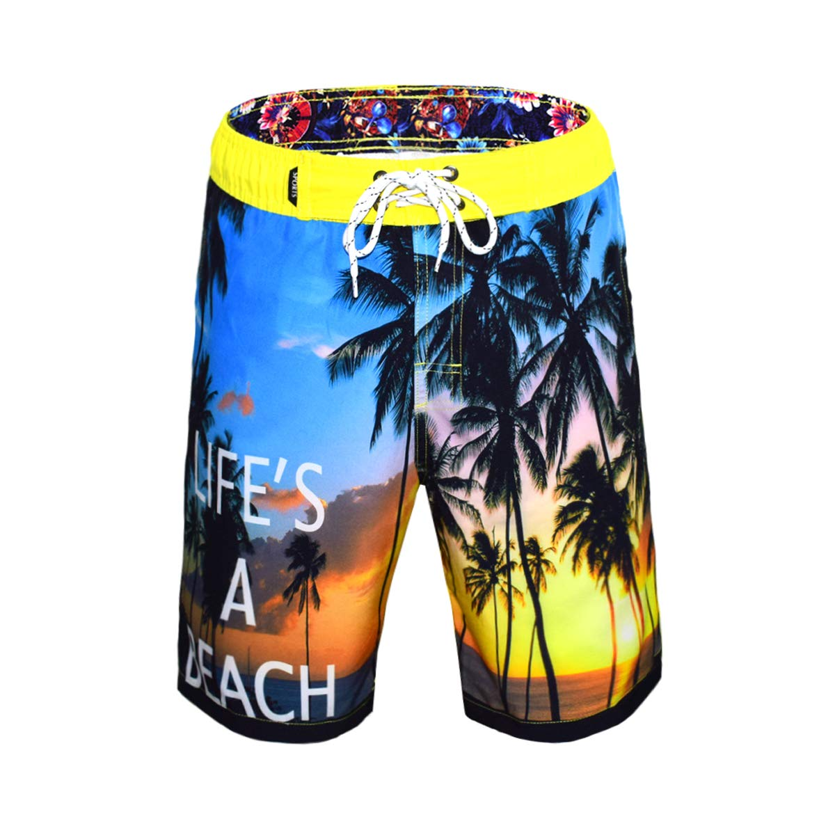 Mens Quick Dry Swim Trunks Beach Shorts with Mesh Lining