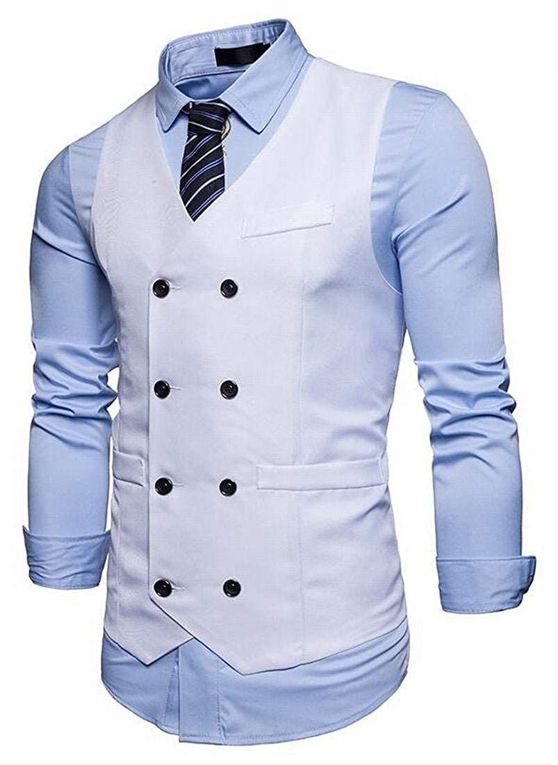 Jotebriyo Mens Casual Gentlemen Double Breasted Solid Business Dress Suit Vest Waistcoat