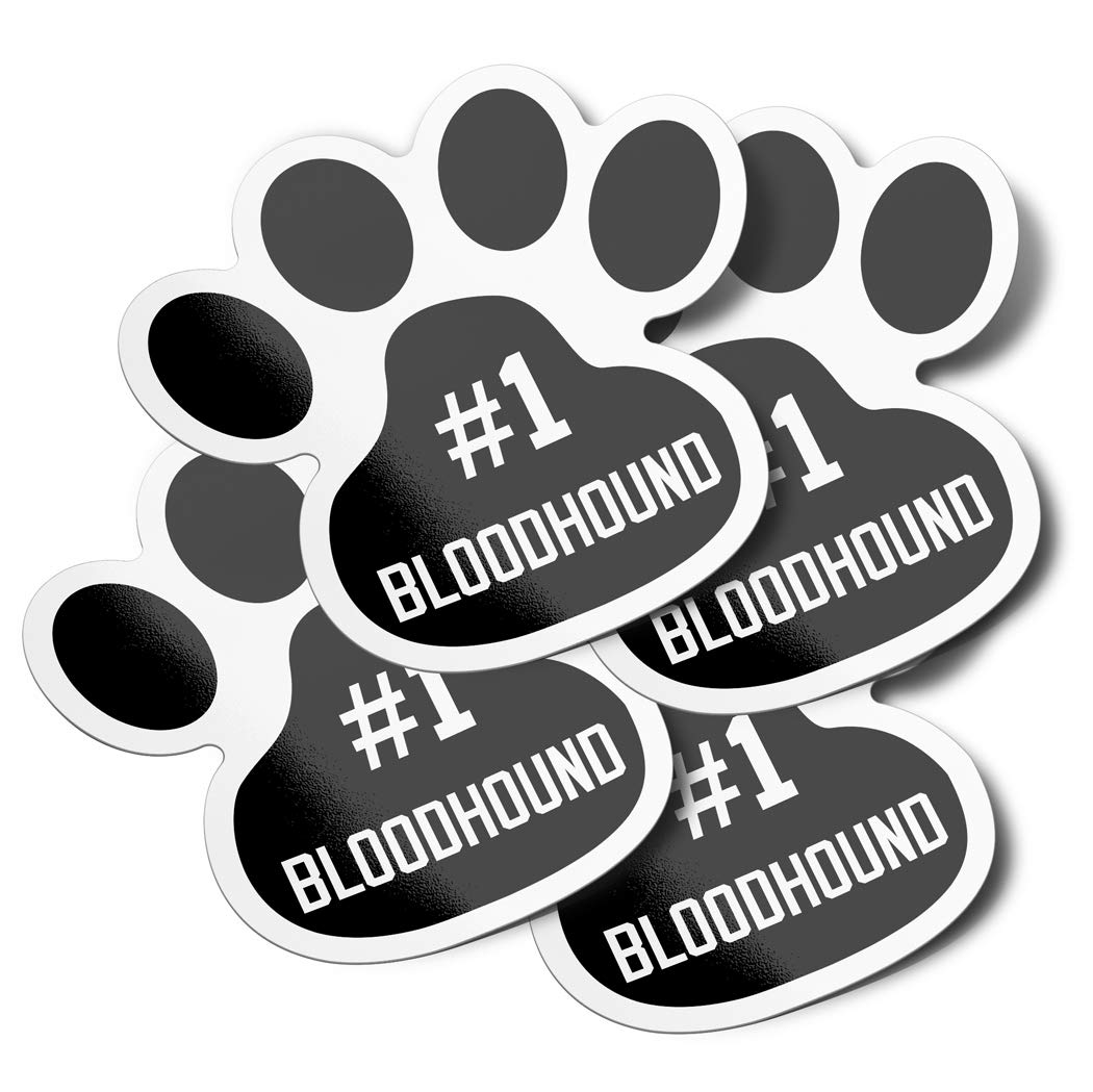 4 Pack DecalVenue.com #1 Bloodhound Dog Paw Print Vinyl Bumper Stickers