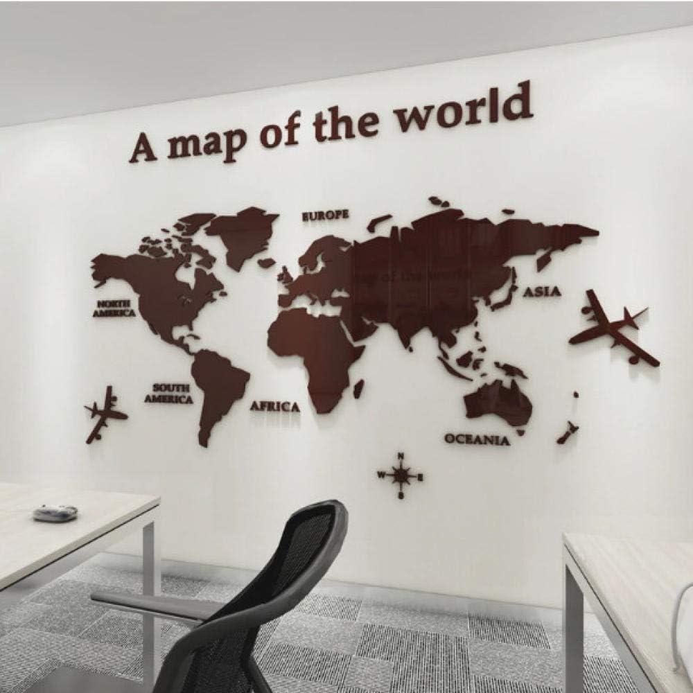 Ziruixiong Version Européenne Carte Du Monde Acrylique 3D Autocollant Mural Pour Salon Bureau Décor À La Maison Carte Du Monde Stickers Muraux Murale Pour Chambre D'Enfants 1.8X1 M