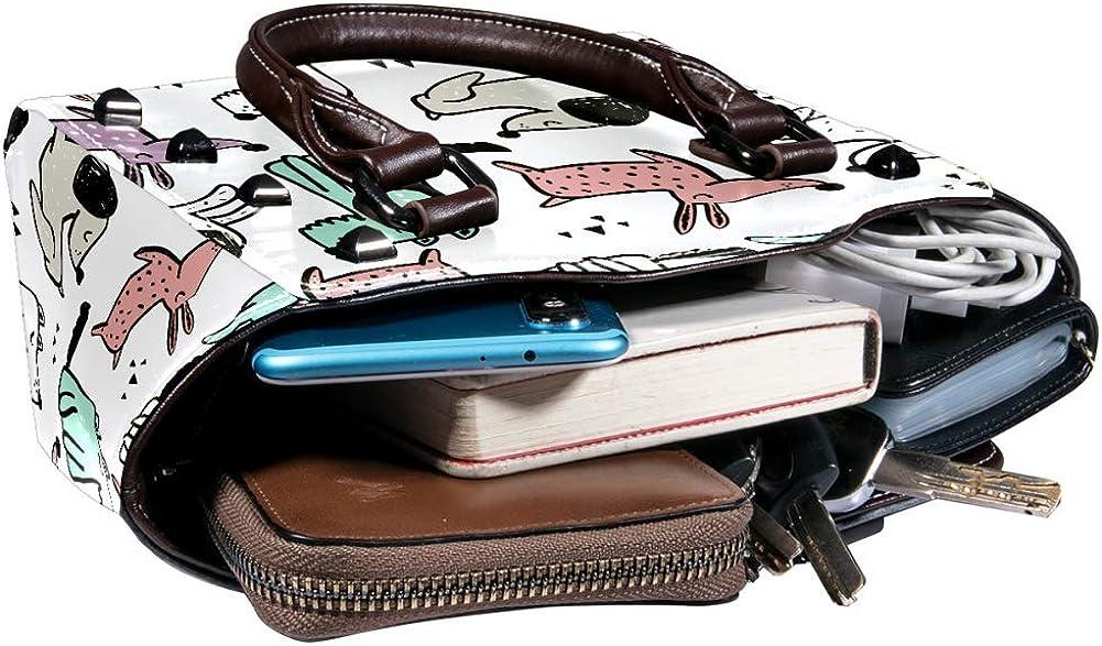 Women handbag Soft PU Leather Fashion Rivet bag Handbag with Shoulder Strap Crossbody Bag Childish Seamless Pattern With Hand Drawn Dogs