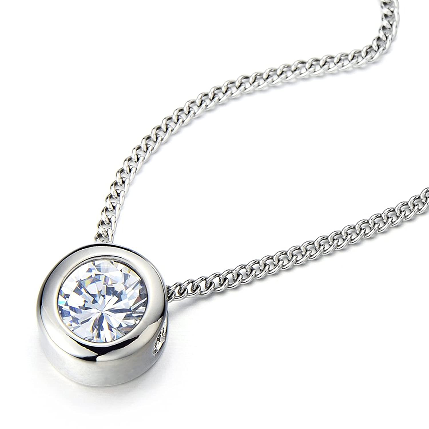 inches steel necklace stainless com chain dp set with solitaire zirconia cubic bezel jewelry round amazon pendant