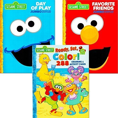 Sesame Street Coloring Book Super Set with Sesame Street Stickers (4 Jumbo Books Featuring Elmo, Cookie Monster, Big Bird and -