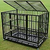 Walcut Heavy Duty 48'' Rolling Double Door Black Strong Metal Pet Dog Cage Crate Cannel Playpen w/Wheels