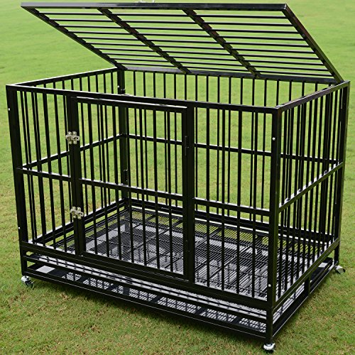 Walcut Heavy Duty Strong Metal Pet Dog Cage Crate Cannel Playpen w/Wheels (48.8