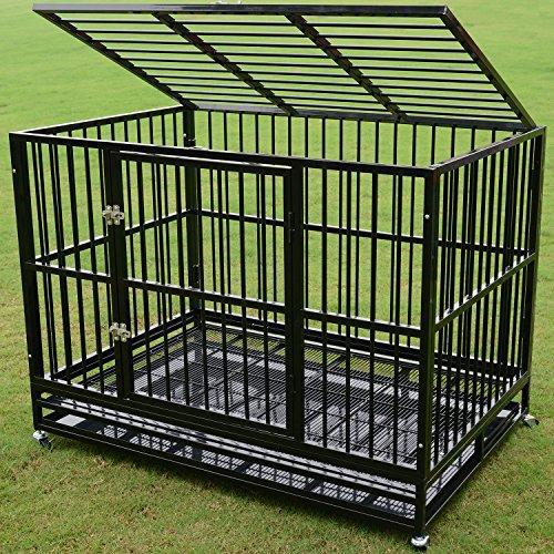 Walcut Heavy Duty 48″ Rolling Double Door Black Strong Metal Pet Dog Cage Crate Cannel Playpen w/Wheels