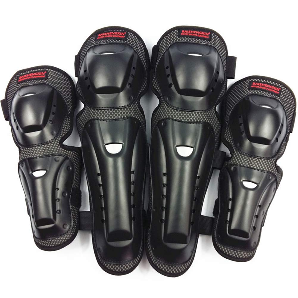 Noir MTSBW Genouill/ères De Motocross 4 Pi/èces Moto Coude Et Protection Prot/ège-Tibia Prot/ège-Corps Corps Noir pour Adultes