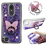 LG Aristo 2 Case, LG Tribute Dynasty, LG Rebel 3 LTE, LG Zone 4, LG K8 2018 [Liquid Glitter Sparkly Bling] Luxury Clear Case Soft ShockProof Cover w/ [Phone Ring Holder Stand] by Zase (Purple)