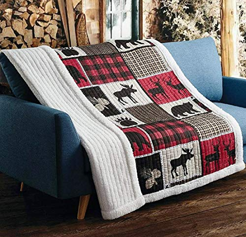 Virah Bella Lodge Life Black Bear Plaid Moose Bird and Deer Patchwork Quilt Throw Sherpa Blanket (Throws Cabin)
