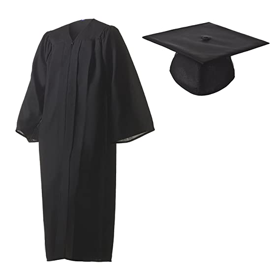 Amazon.com: Graduation Cap and Gown Set Matte Black in Multiple ...