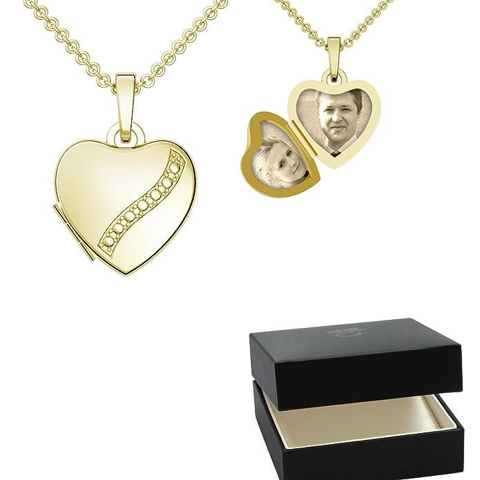 Herz Medaillon Gold Herzkette ❤❤❤ Damen-Kette Halskette Foto ...