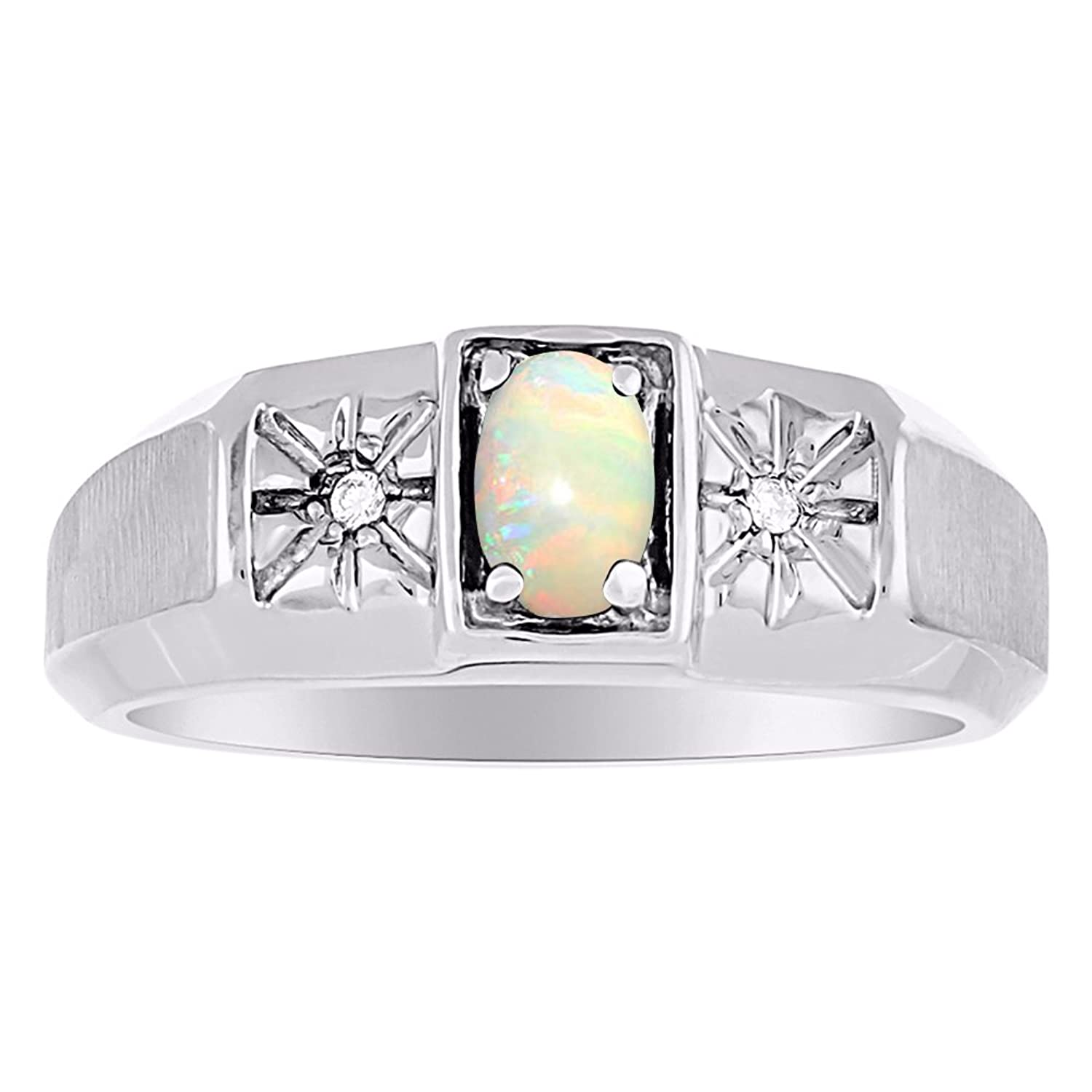 Birthstone Ring Sterling Silver or Yellow Gold Plated Silver Opal & Diamond Ring