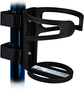 Blue Jay An Elite Healthcare Brand Hold My Drink Universal Beverage Holder with Non-Slip Strip for All Mobility Equipment | Easy to Install Holds Beverages with Flexible Cup Holder | Black