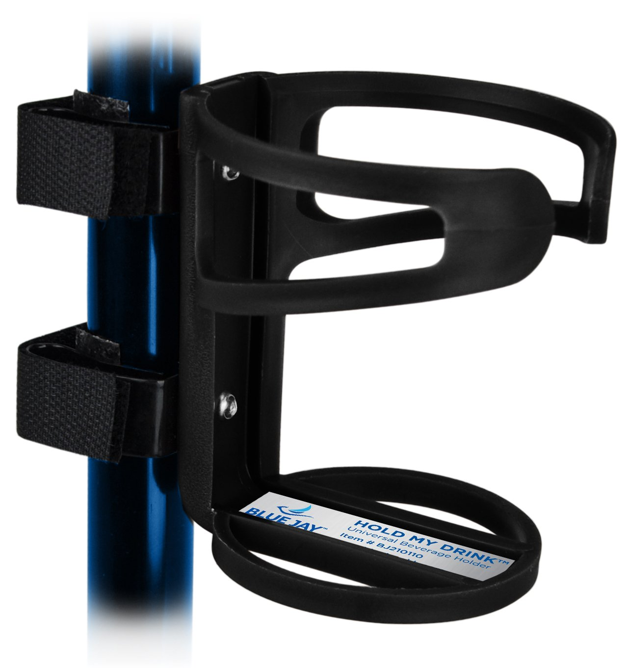 Blue Jay™ Hold My Drink Universal Beverage Holder, Use With All Your Mobil Equipment, Holds A Wide Selection Of Beverages Just Attach and Adjust, No Tools Required, Black, Non-Slip Strip, Flexible by Blue Jay An Elite Healthcare Brand (Image #1)