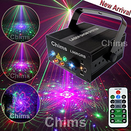 Chims DJ Laser Lights Projector Red Green Blue Laser with LED 96 Patterns Gobos RGRB Color Sound Activated Remote-control Decoration Lighting System for Party DJ Disco Club Xmas (Colour Led Laser)