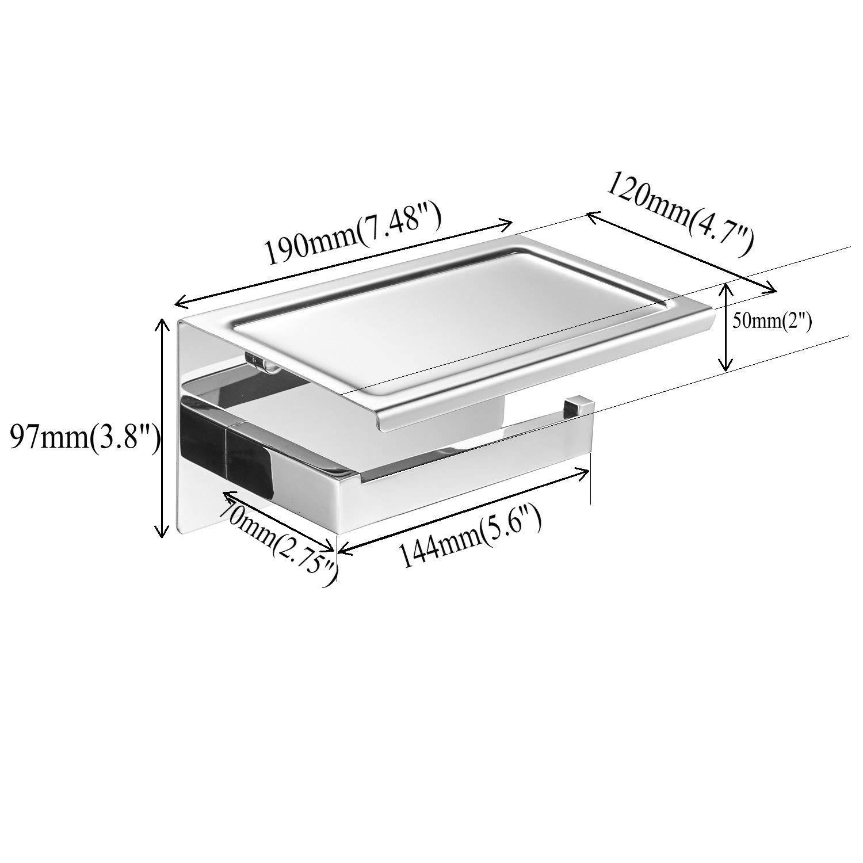 La funzione a doppio uso del portarotolo per accessori da bagno in acciaio inossidabile nero pu/ò riporre il cellulare