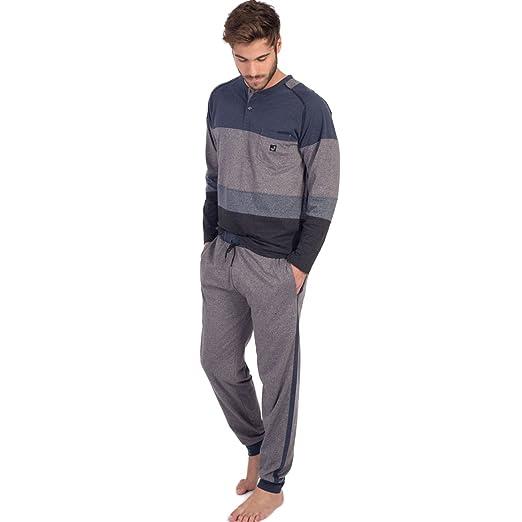 MASSANA - Pijama Hombre con Tapeta Y Bolsillo - Azul, S: Amazon.es: Ropa y accesorios
