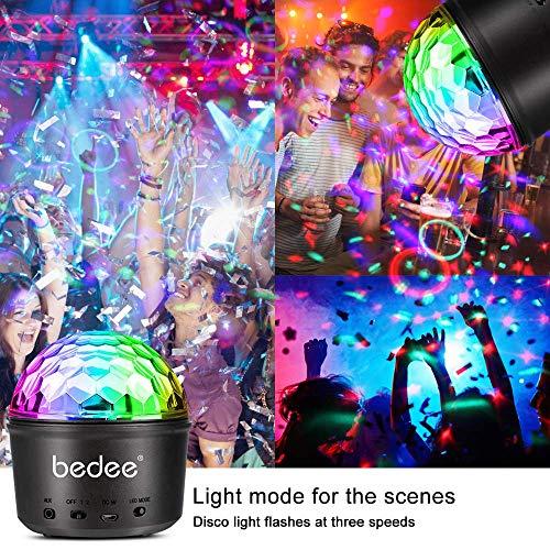 Luci Discoteca LED, bedee Luci Palco LED Palla Discoteca 9 Colori,USB Alimentata luci discoteca con Telecomando Effetti Luce Musica Attivata per party bar Birthday Club Disco DJ Regalo Bambini