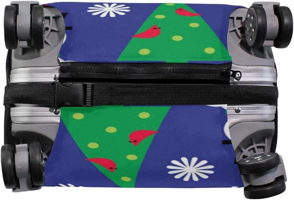 FANTAZIO Christmas Snowman Flower Bird Blue Suitcase Protective Cover Luggage Cover