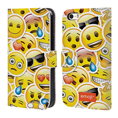 Officiel Emoji Autocollants Smileys Étui Coque De Livre En Cuir Pour Apple iPhone 5 / 5s / SE