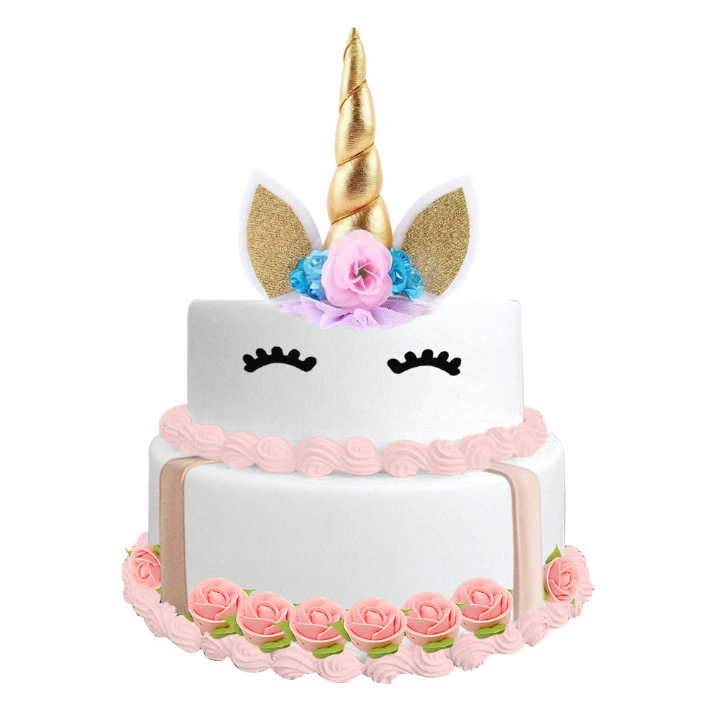 1094f6e1ce690 Unicorn Cake Topper - Handmade Unicorn Horn, Ears and Flowers Set -  Decoration for Wedding and Birthday Party Cake