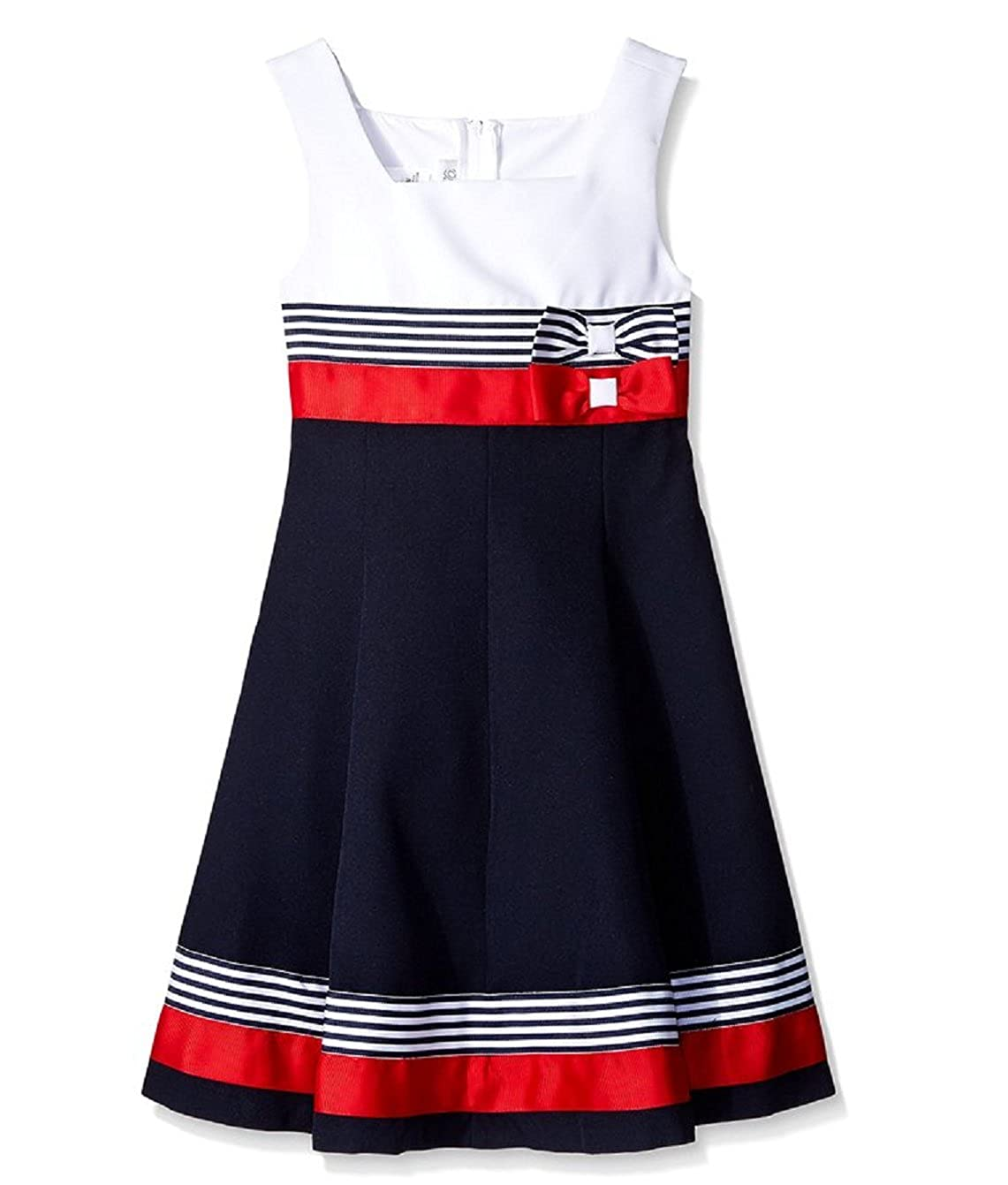 Bonnie Jean Girls Easter Red / Navy Nautical Sailor Uniforms Dress
