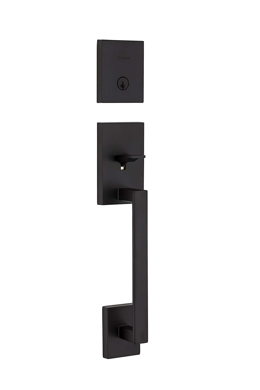 Kwikset San Clemente 98180-007 Single Cylinder Low Profile Deadbolt Exterior Only Handleset Featuring SmartKey In Iron Black