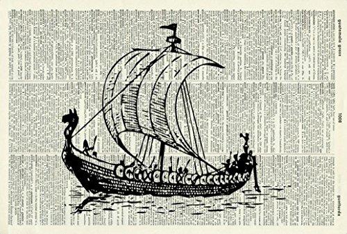 Viking Longship - VINTAGE ART PRINT - Vintage Dictionary Art Print - Illustration - Picture - Wall Hanging - Home Décor - Housewares - Book Print - Wall Art - Boat - Nautical Art Print 40D
