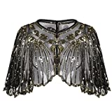 #8: PrettyGuide Women's 1920s Shawl Beaded Sequin Deco Evening Cape Bolero Flapper Cover up