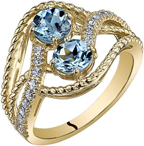 14K Yellow Gold Two Stone Aquamarine Ring 1.00 Carats Sizes 5-9