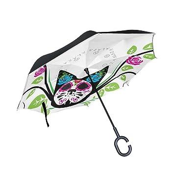 ALAZA doble capa Inverted Sugar Skull gato rosas paraguas coches Reverse resistente al viento lluvia paraguas