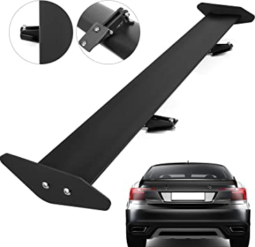 43.3 Single deck FORAVER Universal GT Wing Spoiler 110CM Lightweight Aluminum Rear Spoiler Wing Adjustable Angel Single Deck Racing Trunk Spoiler BGW Drift JDM Drift Black Universal Spoiler