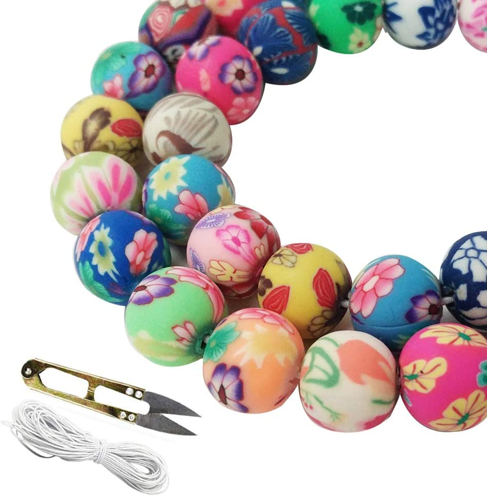 WXBOOM 100pcs Assorted Handmade Colorful Pattern Beads Fimo Polymer Clay Round Spacer Bulk Beads with Scissors and White Cord (10mm) for Jewelry Making