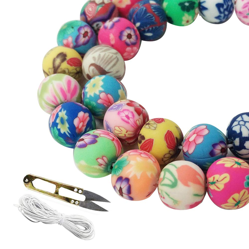 WXBOOM 100pcs Assorted Handmade Colorful Pattern Beads Fimo Polymer Clay Round Spacer Bulk Beads with 1 Pair of Scissors and 1 White Cord (10mm) for Jewelry Making 4336814777