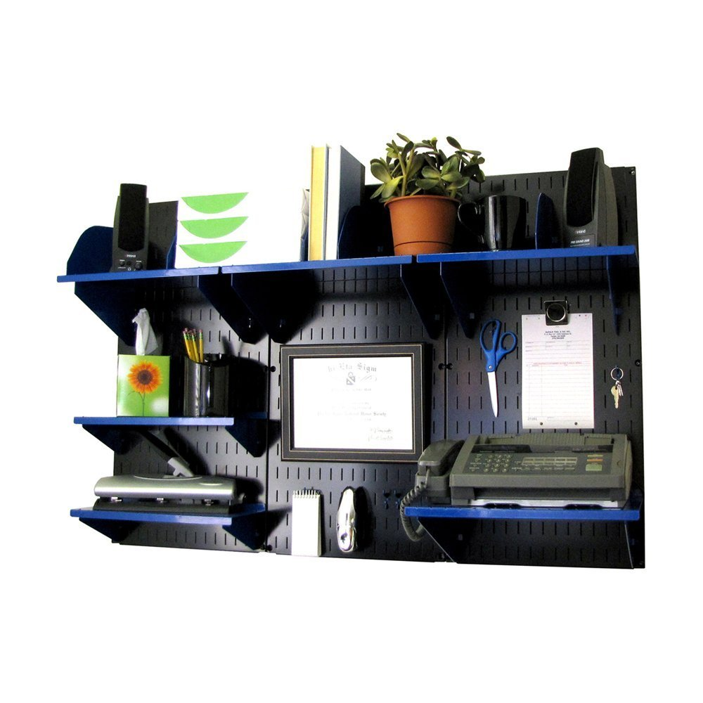 Wall Control Office Wall Mount Desk Storage and Organization Kit, Black/Blue