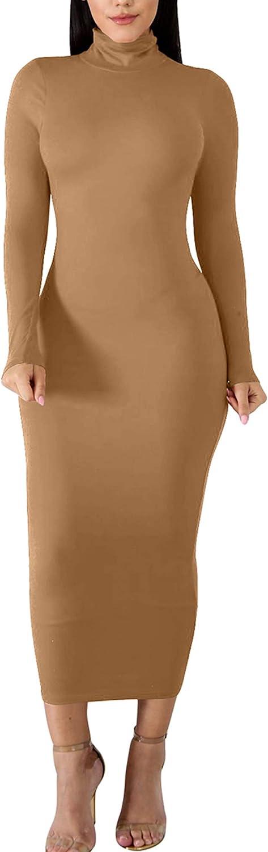 BORIFLORS Women's Sexy Basic Long Sleeve Turtleneck Bodycon Party Long Pencil Dress