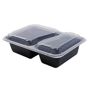 Contenedores de plástico para comida aptos para microondas y lavavajillas con tapa 2 Compartment