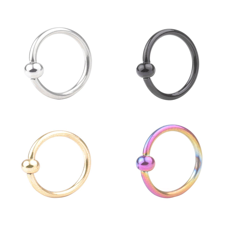 2-4pcs 16G Stainless Steel Captive Bead Ring CBR Hoop Helix Tragus Ear Lobe Earring Nose Ring 3mm Ball 8mm