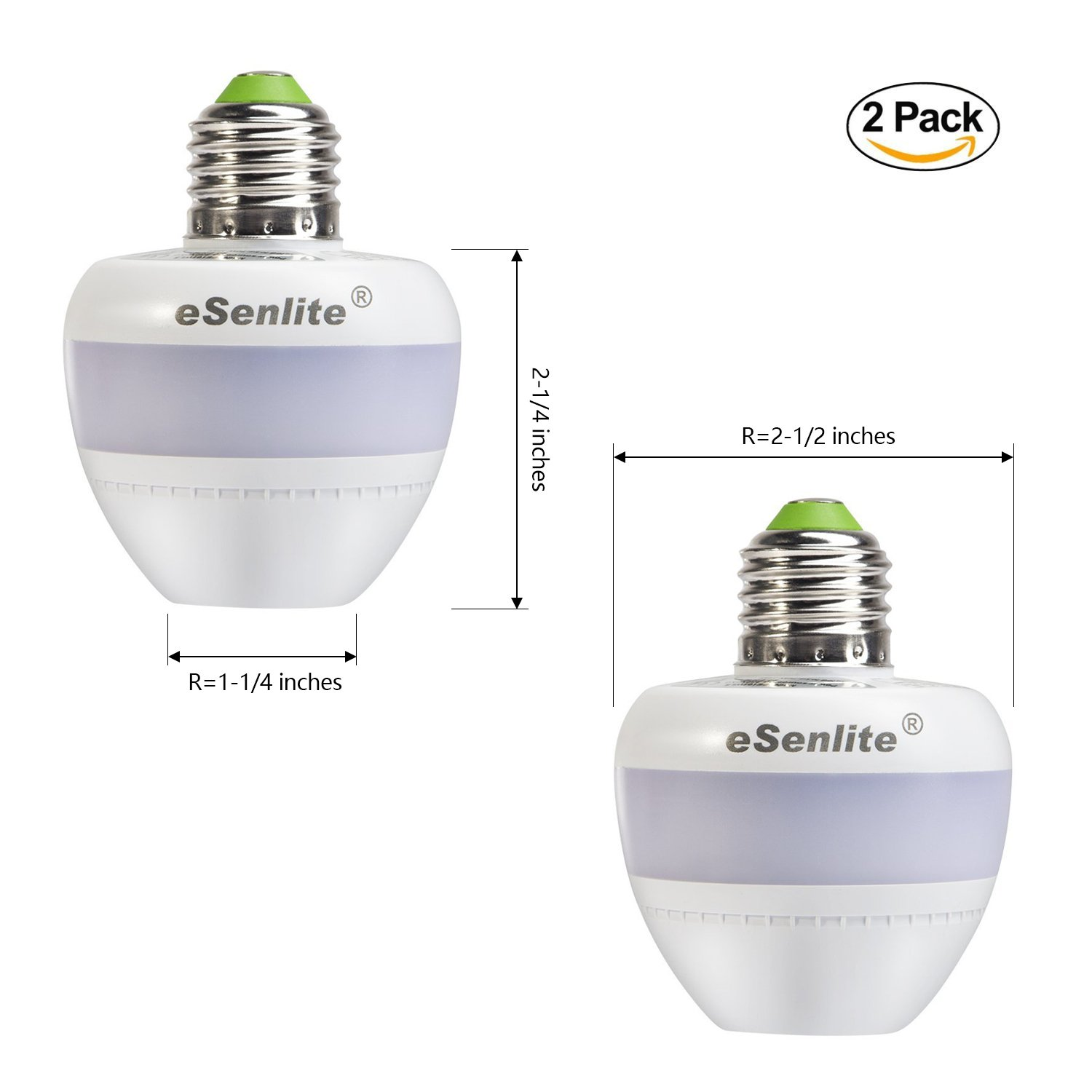 eSenlite Radar Motion Sensor Activated Retrofit Light Sockets Compatible LED CFL Incandescent Bulb Outdoor Light Fixture Indoor Table Floor Decoration Lamp Fixed Base Dusk to Dawn Dimmable Pathway 2PC EE Systems EE101WLS