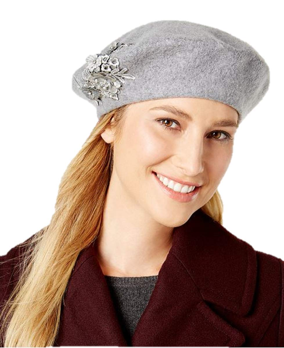 AUGUST HAT COMPANY Melton Applique Beret in Grey
