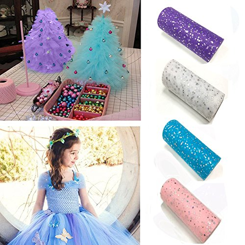 4Pcs Glitter Sequin Tulle Rolls Sparkling Fabric Spool Ribbons Tutu Material 6 x 900 Inch (25 Yards Each) for DIY Craft, Gift Wrapping, Decoration, Clothes, Wedding - Pink, Purple, White, and (Sequins Ribbon Foot)