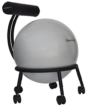 Isokinetics Inc Brand Adjustable Fitness Ball Chair Metal Frame 2 Frame Finishes Exclusive 60mm 2 5 Wheels Multiple Ball Color Choices