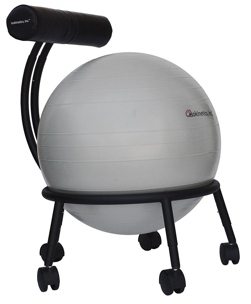 Isokinetics Inc. Brand Adjustable Fitness Ball Chair - Solid Black Metal Frame Finish - Exclusive: 60mm (2.5'') Wheels - Adjustable Base and Back Height - with Gray 55cm Ball and a Pump