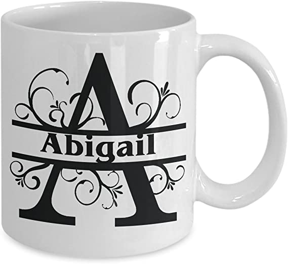 Abigail Coffee Mug Girls Name Monogram Pretty Ceramic Tea Cup Cute Gift Woman Names Personalized Novelty Gifts Kitchen Dining Amazon Com