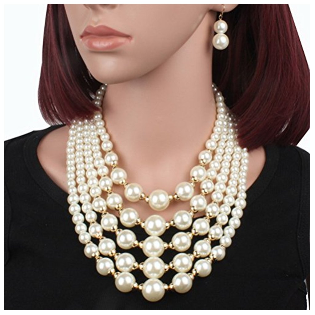 SUMAJU Statement Necklace, Multi Strand 5 Layers Simulated Pearl Bib Necklace Statement Earrings Set Beige for Women