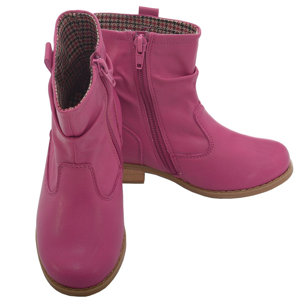 L Amour Fuchsia Leather Mid Ankle Zip Fashion Boots Little Girls 11-2