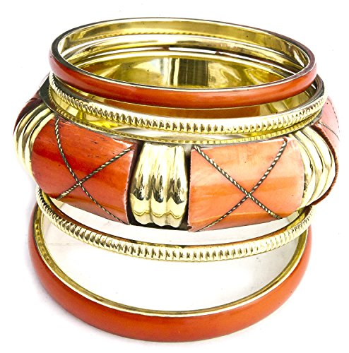 Set of Five Bangles - Brass - Color Coral Red Red Coral Bangle