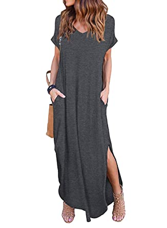 dd77fc2854 Women s Summer Maxi Dress Casual Loose Pockets Long Dress Short Sleeve  Split Dark Grey