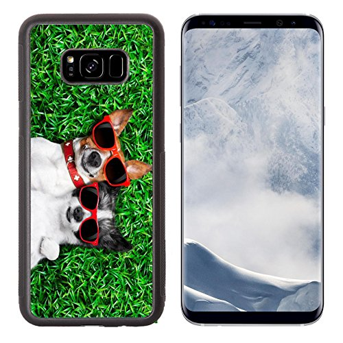 Luxlady Samsung Galaxy S8 Plus S8+ Aluminum Backplate Bumper Snap Case IMAGE ID: 30507565 couple of dogs in love very close together lying on grass in the park with sunglasses chilling